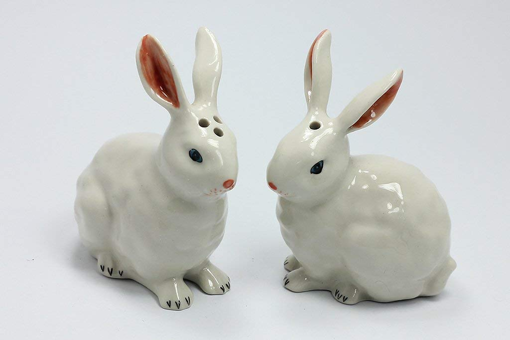 Salt and Pepper Shaker Ceramic Rabbit Figurine Miniature Hand Painted