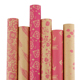 Wholesale Pink Patterns Printed Thick Brown Gift Wrapping Kraft Paper Roll
