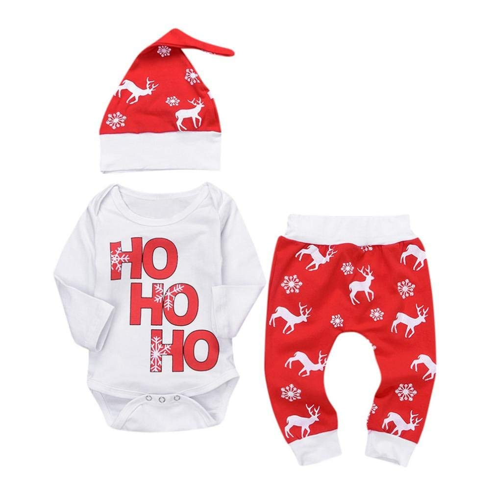 Jchen TM Baby Casual Valentine Sets Infant Boys Girls Letter Print Pullover Romper+Pants+Hat Outfits for 0-18 Months