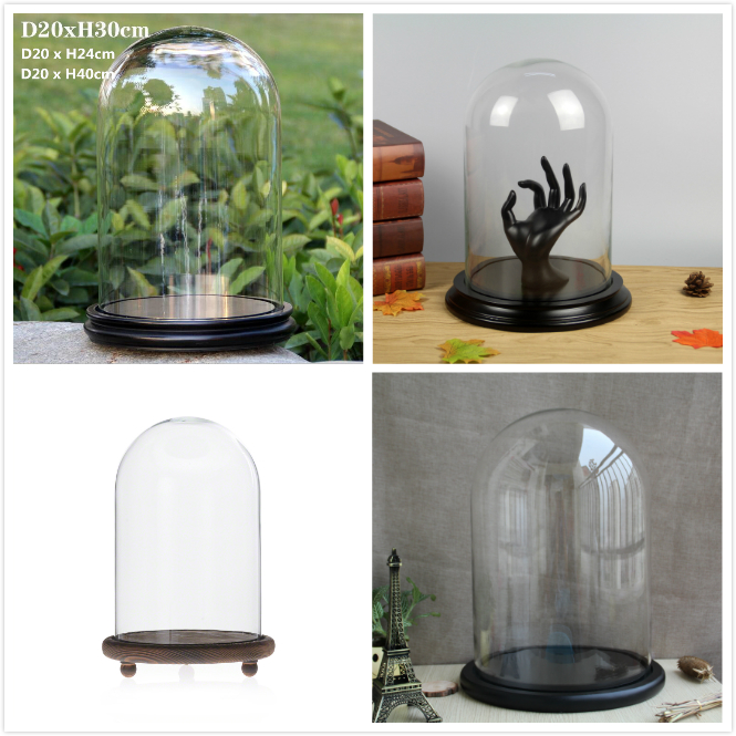 Decorative Glass Dome Cloche With Wooden Base D20 x H30cm (D7.87xH11.81inches)