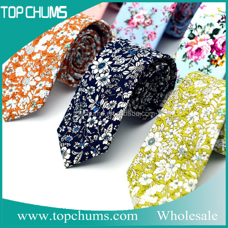 The European and American casual fashion styles cotton skinny floral <strong>ties</strong> for men