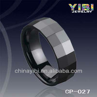 Ceramic Ring Diamond Cut, Faceted Design,Center Raised Tungsten Carbide