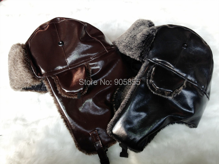 b4690a42dd7 ... Windproof Trapper Hat Hunting PU Leather Fur cap Russian Winter Hat  Bomber Caps for Men (