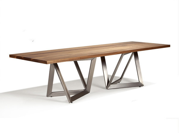 Wooden Top And Metal Leg Dining Table Simple Modern Design