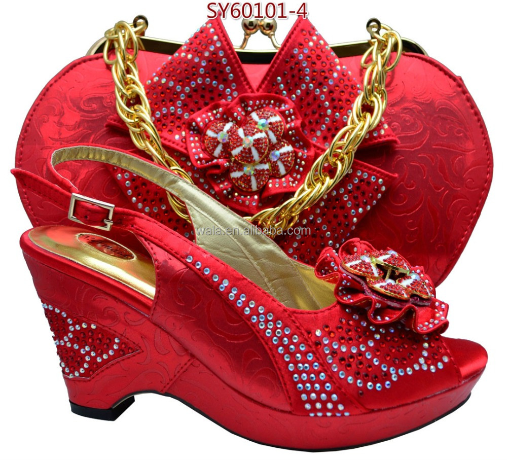 for shoes lady SY60101 4 wedding shoes red wedge bag African heel set and wvqHHg