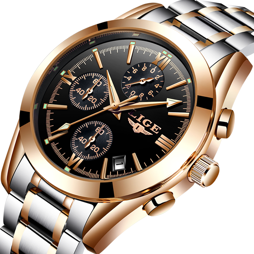 56eb6a2e4af Luxury LIGE Brand Men Watches Quartz Wristwatch Male Chronograph Sports  Business Wrist Watch
