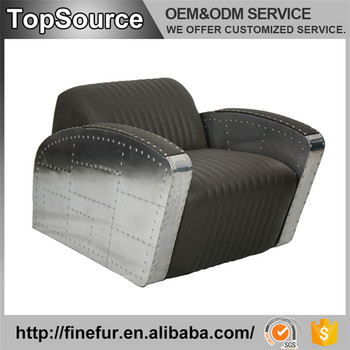 Coffee Shop Grey Pu Leather Industrial Antique Armchair