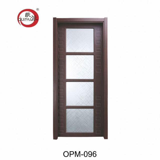 Delightful Factory Price Classic 4 Square Frosted Glasses Brown Printed Solid Wooden  Hotel Room Door Inside