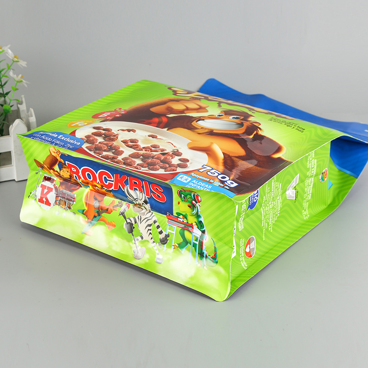 Custom printing Laminated material Stand up flat bottom large food packaging bag tea coffee aluminum foil bag