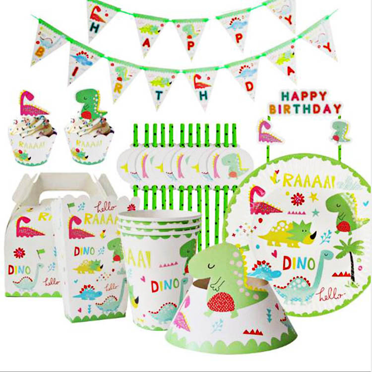 Customization Dinosaur Chrildrens Party Supplies Boys and Girls Theme Party Set for Kids Paper Plate +Cups +Banner Tableware