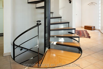 Solid Wood Tread Luxurious Spiral Staircase Design For House