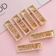 2019 Hot Koop Vrouwen Hair <span class=keywords><strong>Clips</strong></span> Bobby Pins Mode Parel Brief Hairgrip Accessoires Voor Vrouwen Barrette Hairclip Haarspeld LSHR016