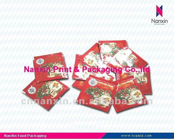 transparent small sachet printed bag for tea