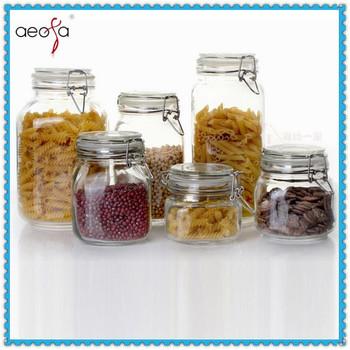 Rubber Or Silicone Seal Airtight Square Glass Storage Jar Clip Lid