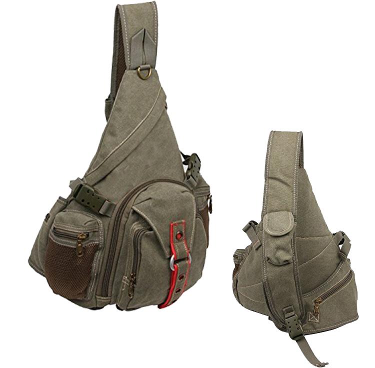 Quanzhou Factory Canvas Army Sling Bag Custom Cotton Military