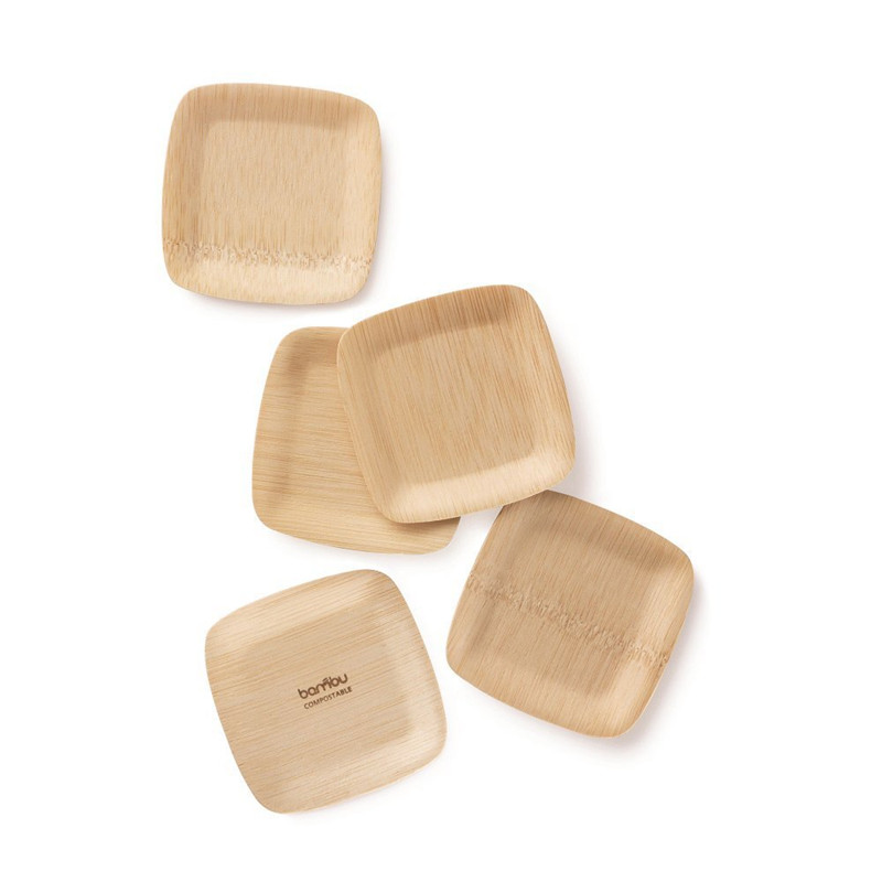 "3.5"" Compostable Eco-Friendly Disposable Bamboo Square Tasting Plates for Home and Catering"