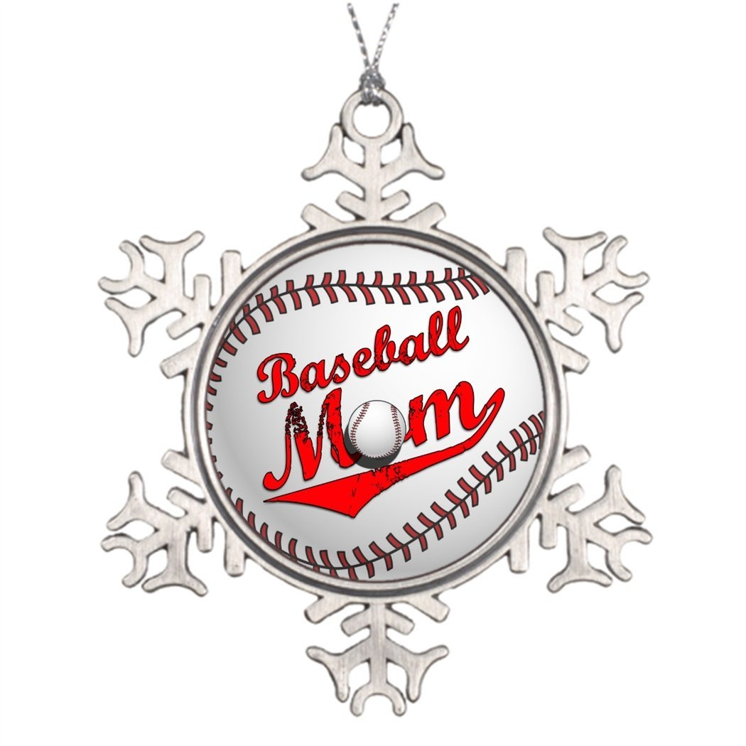 Xmas Trees Decorated Baseball Mom Outdoor Christmas Snowflake Ornaments Mom