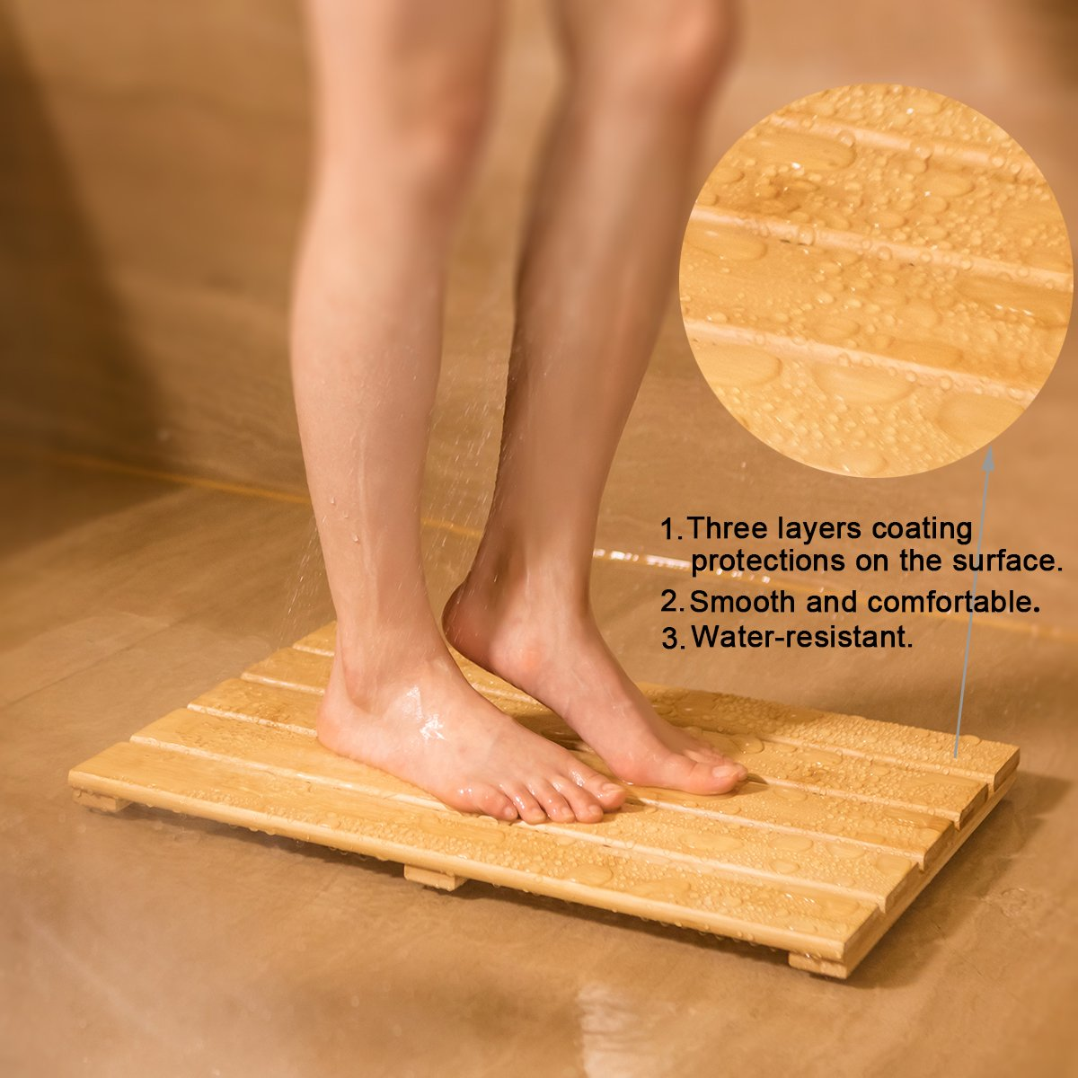 Shower Mat Bath Mat for Spa Relaxation Bathroom Rugs Non-Slip for Indoor Outdoor,Bamboo