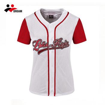Sueño Deporte Rojo Dama En Blanco Y Jerseys De Béisbol Camisa - Buy ... 91eedb6a0b4a