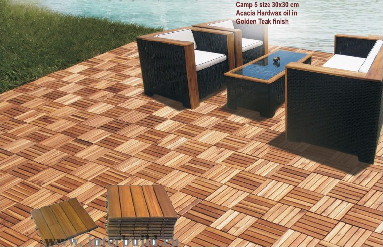 Camp 5 indoor outdoor garden acacia wood interlocking for Indoor outdoor wood flooring