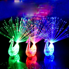 Peacock Design 4 Color Pack Led Light up Toy Lamp Fiber Finger Light Colorful LED Light up Rings Party Gadgets Toys for Children
