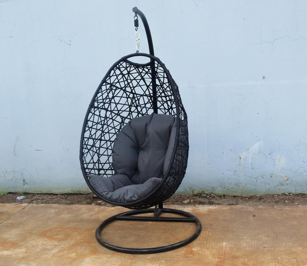 Wicker Hanging Egg Chair W Stand Outdoor Patio Drop Shape Swing Trapeze Rattan Basket