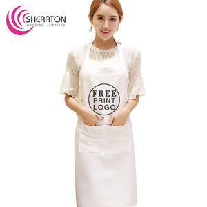 Free printing logo 100% mjs spun polyester apron / white waiter kitchen for advertising and promotion on factory price