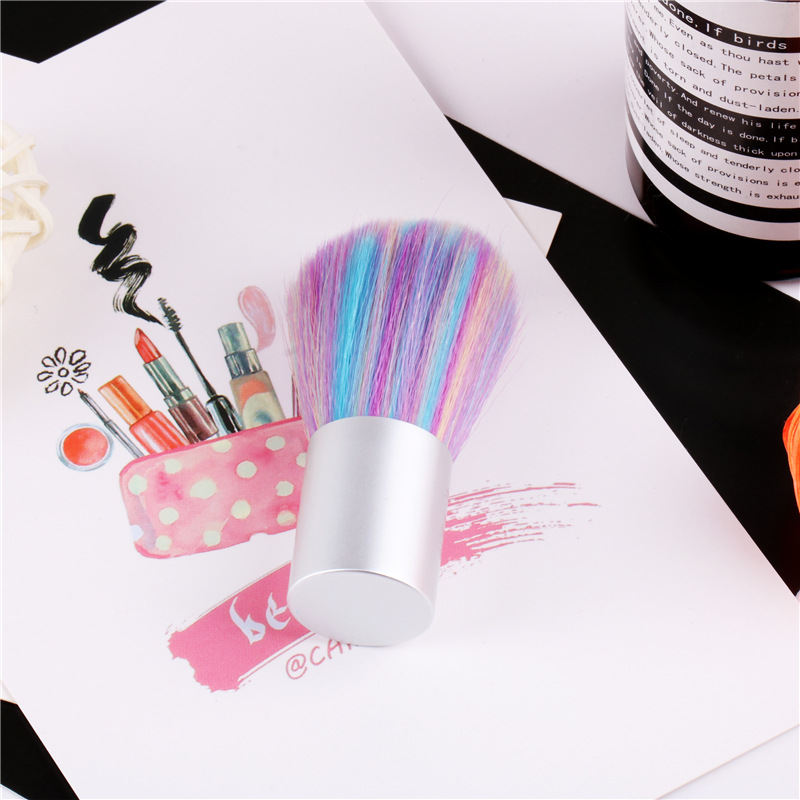 High Quality Short Silver Handle Easy Apply Colorful  Nail Cleaning Brush  For Removing Dust