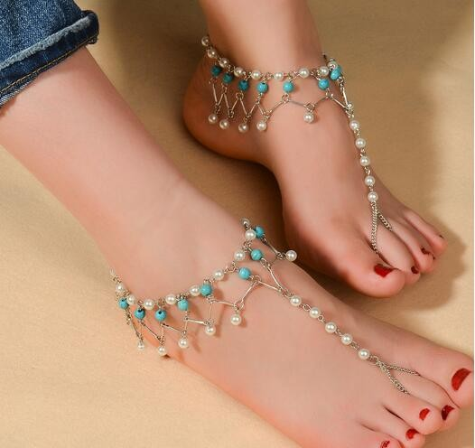 Imitation Turquoise Beads Pearl Barefoot Beach Sandals Bridal Diamante Anklet