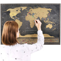 Premium World Scratch Off Travel Map Perfect Traveller's Personalized Gift, Creative & Detailed Wall Poste, FREE Scratch pen
