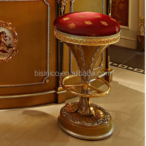 French Classic Style Latest Wood Carved Bar Stool/ Antique Golden ...