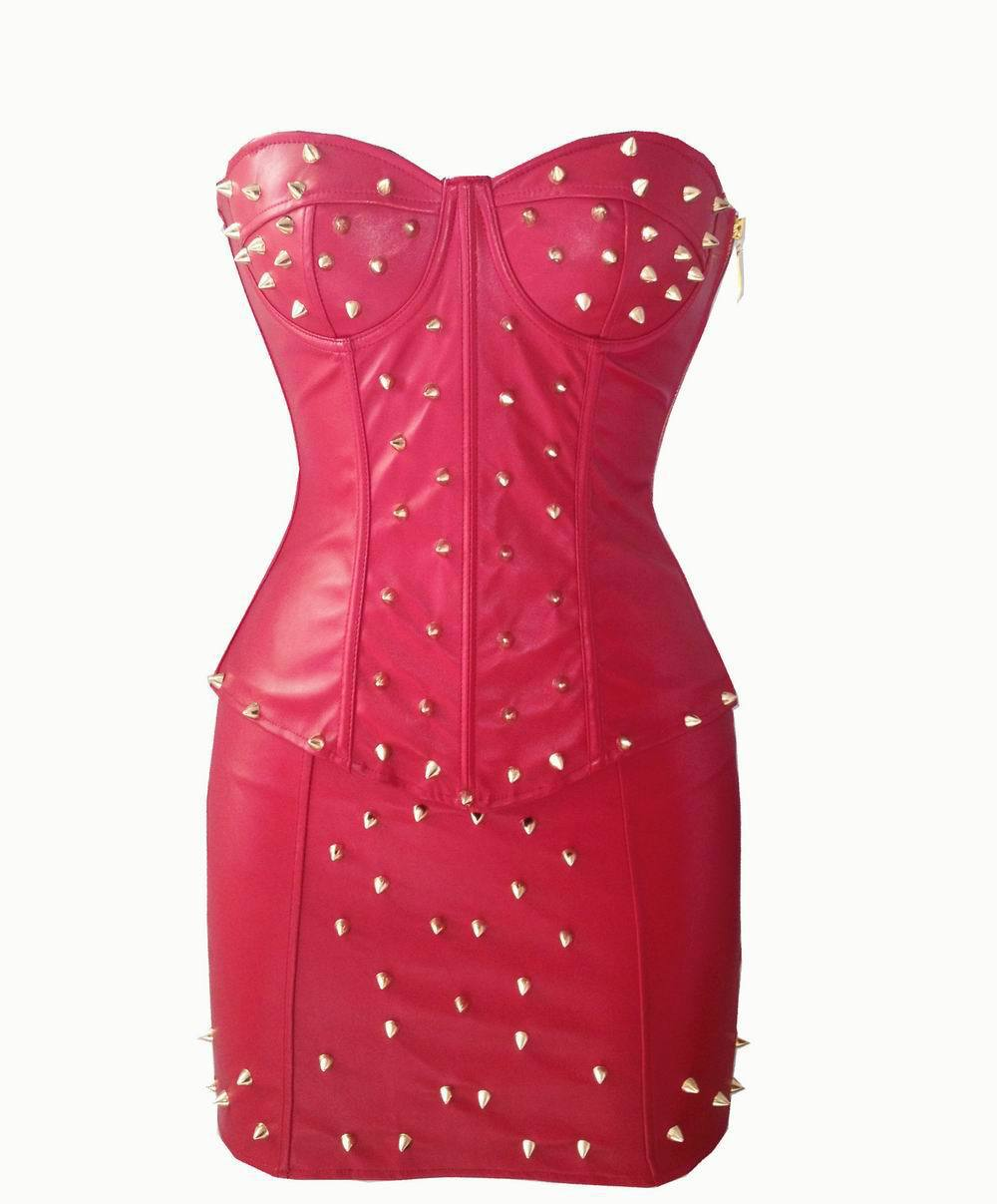 e457da541e9 Get Quotations · Free shipping Fashion new style Corset and skirt with  spikes Top Bustier Faux Leather Corsets PP9054