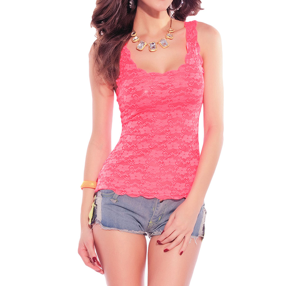 ee75c7b62ca Get Quotations · 2015 New Fashion Women Lace Sleeveless Backless Tank Top  Summer Sexy Hollow Out Basic Top Plus