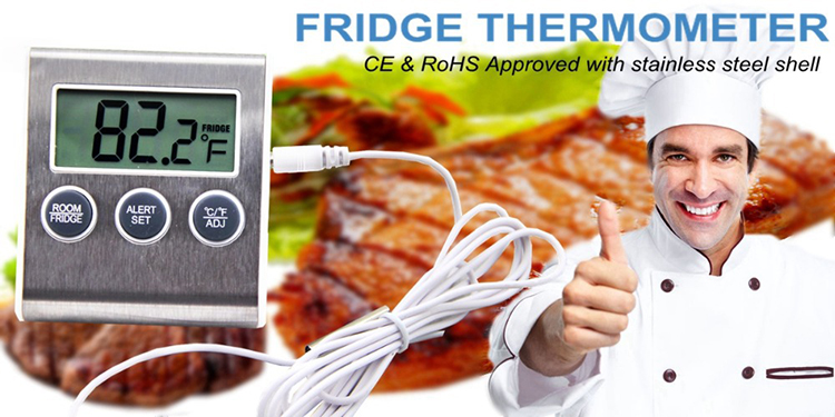 Hot Sell Digital Fridge Freezer Thermometer Refrigerator Magnet Thermometer with Alarm Function in Stainless Steel Material