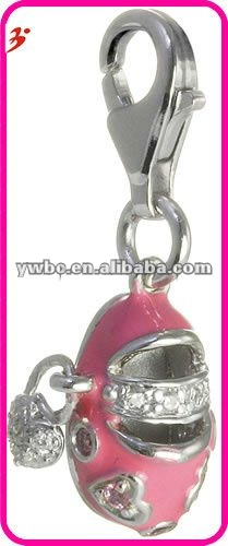 new design lobster clasp silver town with heart and red shoe shape charm(H100333)