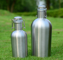 2L double wall stainless steel neoprene beer bottle insulator with covers and sleeve for beer lovers