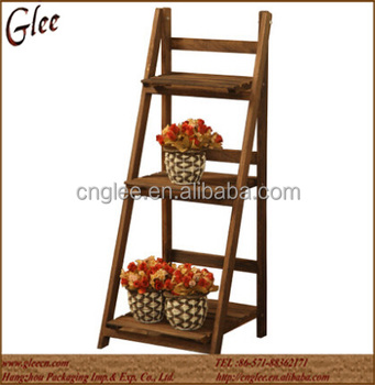 3 Tiers Collapsible Wooden Flower Stand Plant