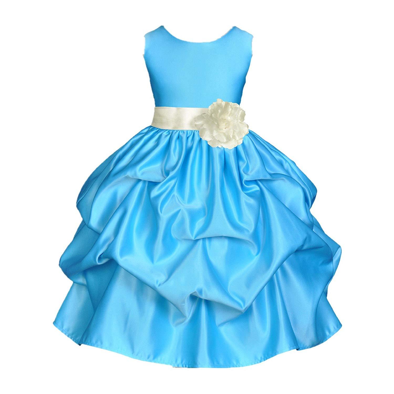 4f0d0b2f1bdd1 Get Quotations · ekidsbridal Satin Pick-Up Turquoise Blue Flower Girl Dress  Summer Easter Dresses Birthday Girl Dresses