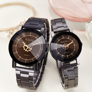 a2f394b5bb4 Fashion Brand Women Watches Casual Black Round Dial Stainless Steel Band  Quartz Wrist Watch Mens Gifts