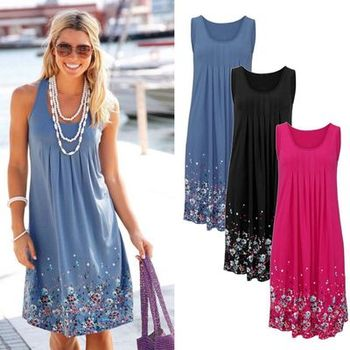 Sleeveless Floral Print Loose Dress Fashion Six Colors Casual Women Dress Robe 2019 Sexy Dress Plus Size S-5XL