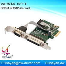 High quality 1 serial port and 1 parallel port PCIe adapter expansion card