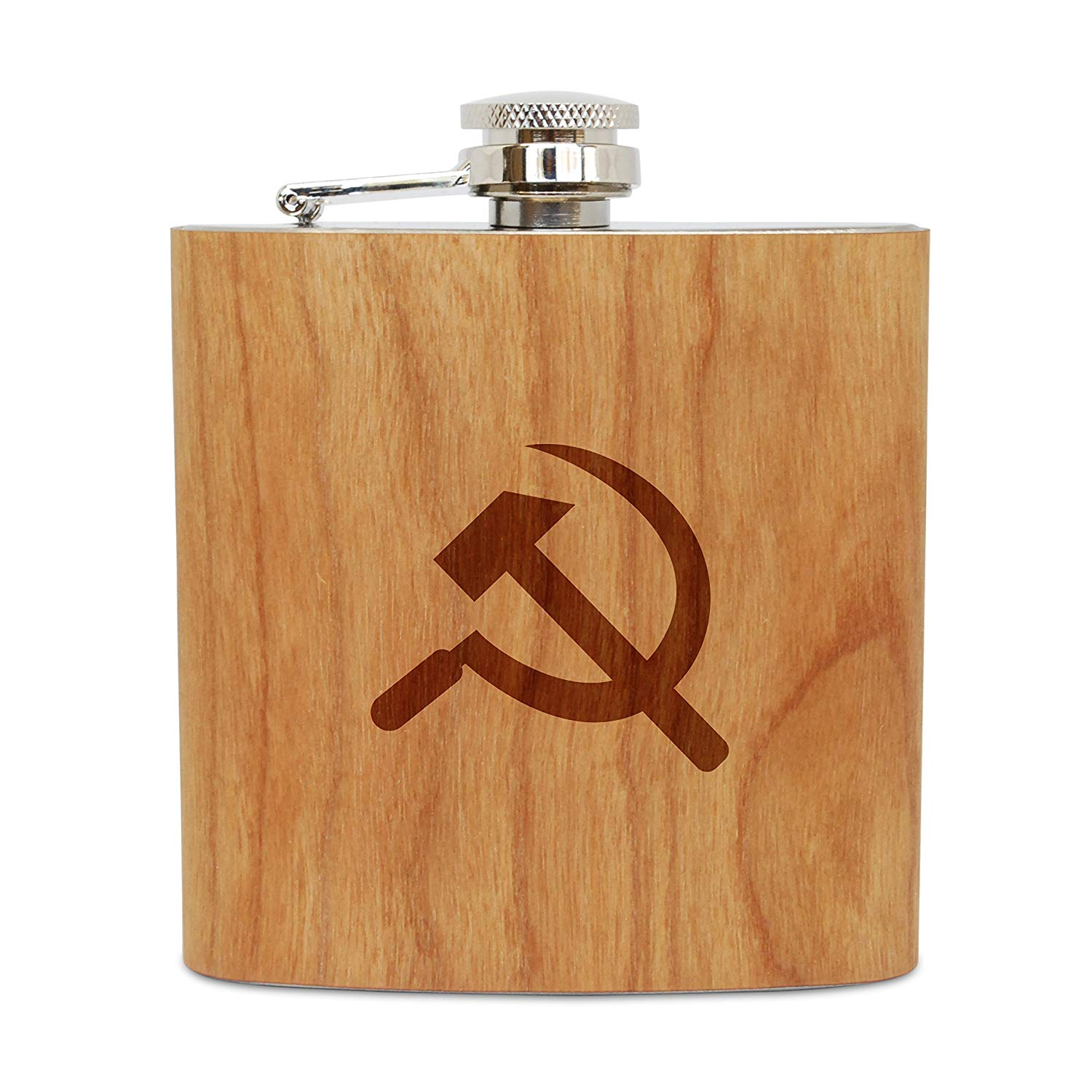 WOODEN ACCESSORIES COMPANY Cherry Wood Flask With Stainless Steel Body - Laser Engraved Flask With Communism Design - 6 Oz Wood Hip Flask Handmade In USA