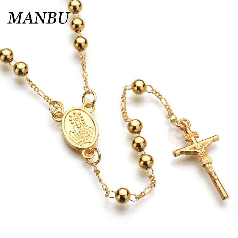 6b37a43e4ff9 Crucifijo de oro collar de cuentas de Rosario Católico collar de acero  inoxidable collares de joyería