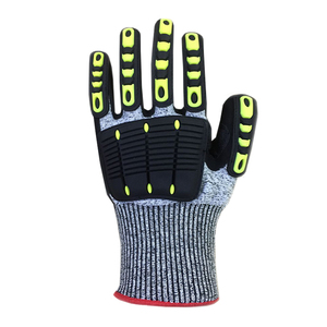 Cut resistant mechanical anti impact gloves - nitrile coated and TPR