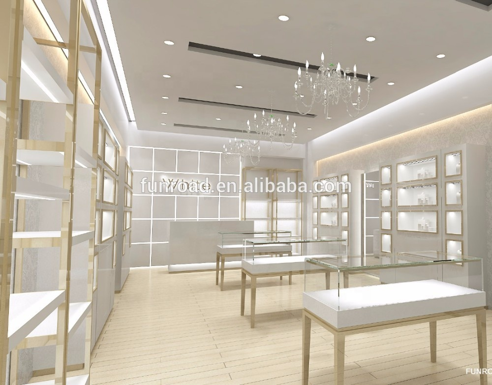 Gold jewelry store display counter furniture