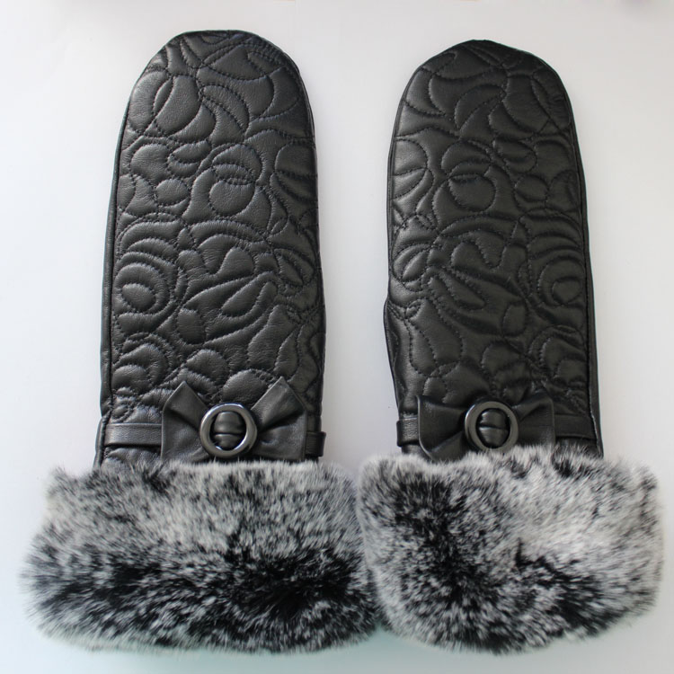 rex rabbit fur cuff mittens gloves imporer with embroidery for laides