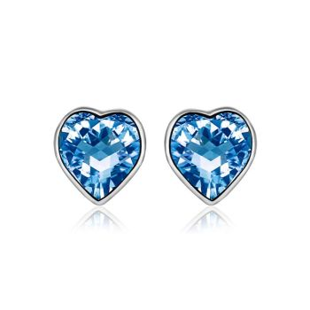 2019 Platinum Plated Heart Design Fashion Party Wedding Jewelry Blue Austrian Crystal Stud Earring