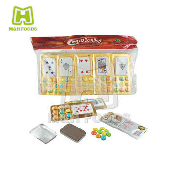 Fun Poker Shaped Chocolate and Candy Chocolate Coated Beans In Bag