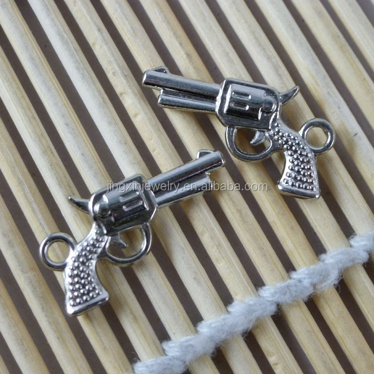 Cool Jewelry Pendants Gun Shaped Metal Pendant Plated Rhodium Color 12*22mm