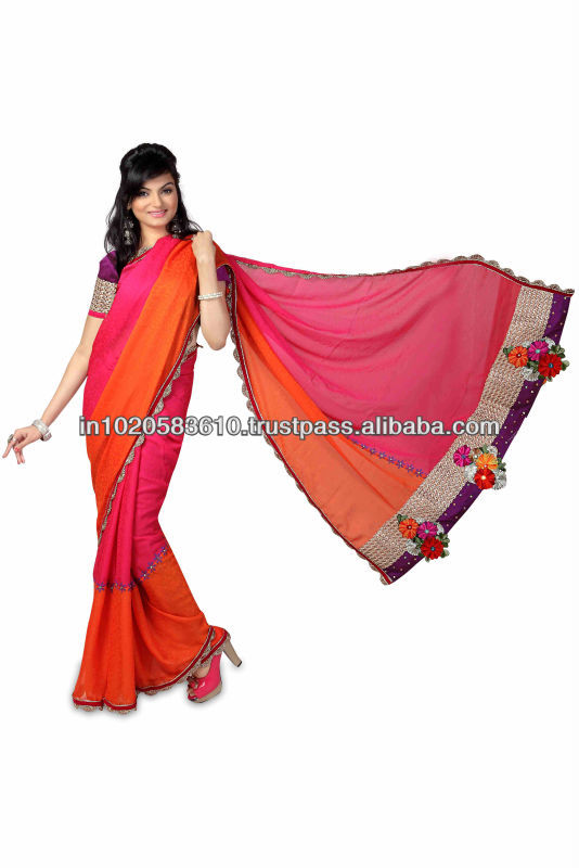 Pink Orange Combination Fl Patchwork And Block Print Fancy Saree Whole